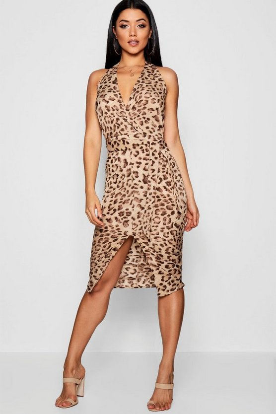 Leopard Print Halter Wrap Midi Dress