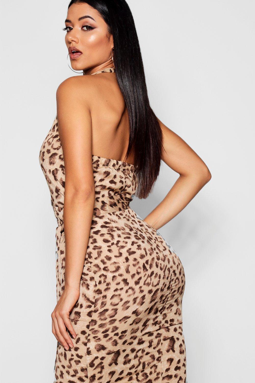 Midi Leopard Wrap Print Dress Halter wRBRAnvqt