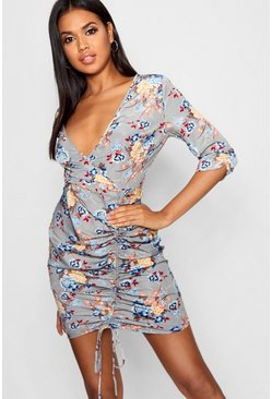 Womens Grey Floral Ruched Detail Bodycon Dress