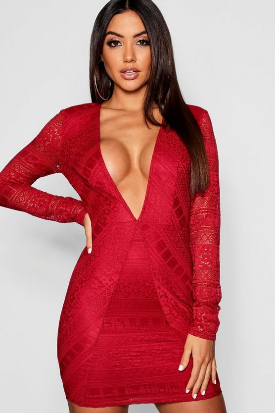 Womens Berry Lace Plunge Long Sleeve Bodycon Dress