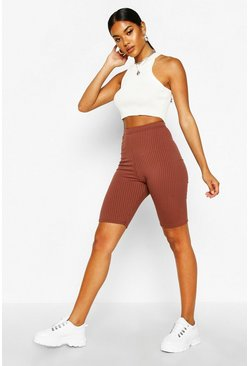 Chocolate Basic Jumbo Ribbed High Waist Cycling Short