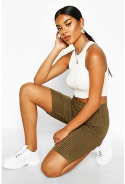 Womens Khaki Basic Jumbo Ribbed High Waist Cycling Short