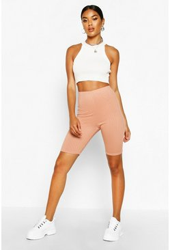 Womens Peach Basic Jumbo Rib High Waist Cycling Short