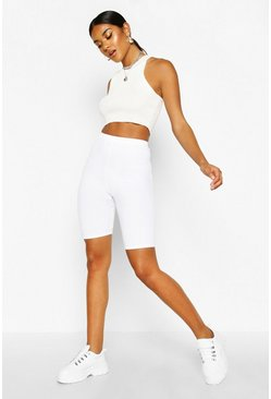 Basic Jumbo Ribbed High Waist Cycling Short, White, Donna