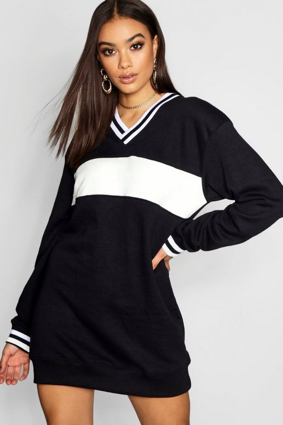 Contrast Trim Loop Back Sweat Dress