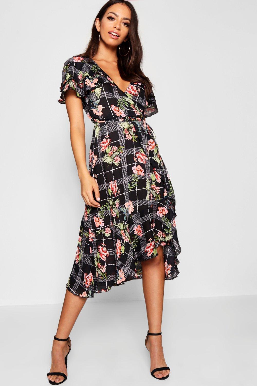 Midi Dress Hem Boohoo Shoulder Floral Check Ruffle wxqp7HB