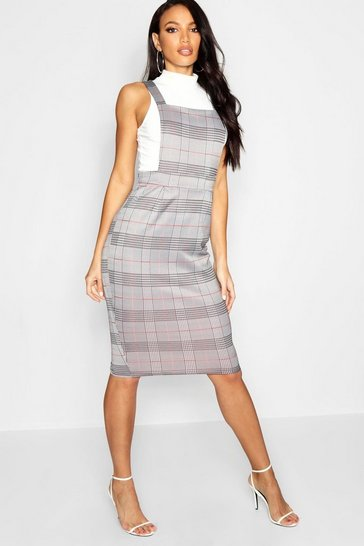 Womens Black Dogtooth Midi Pinafore Dress