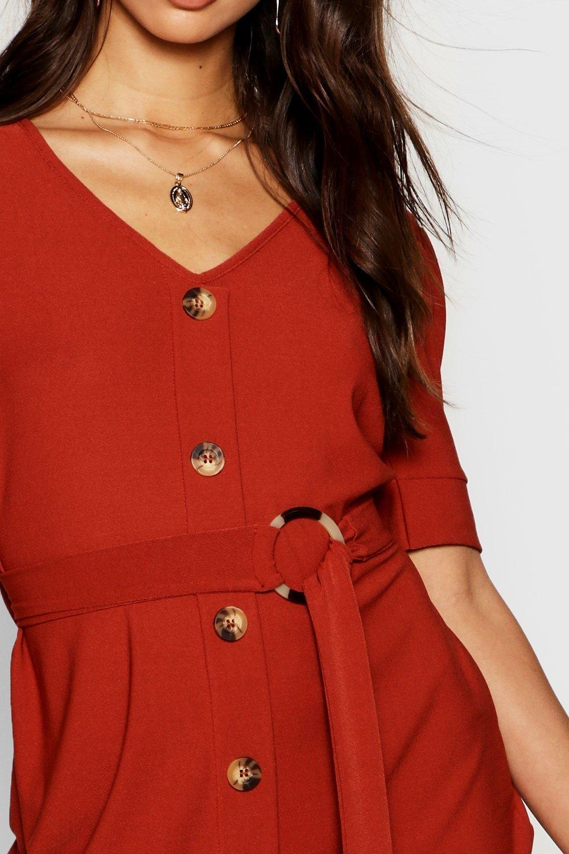 Front Button Dress Puff Sleeve Shift Eq5818C6w