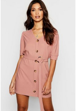 Womens Stone Puff Sleeve Button Front Shift Dress