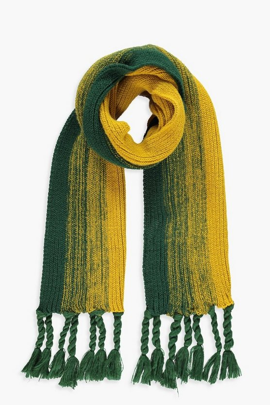 Womens Mustard Striped Knitted Tassel End Scarf