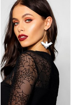 Halloween Bat Drop Earrings, Black, FEMMES