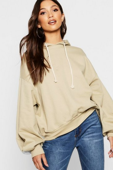 Womens Stone Balloon Sleeve Hoody