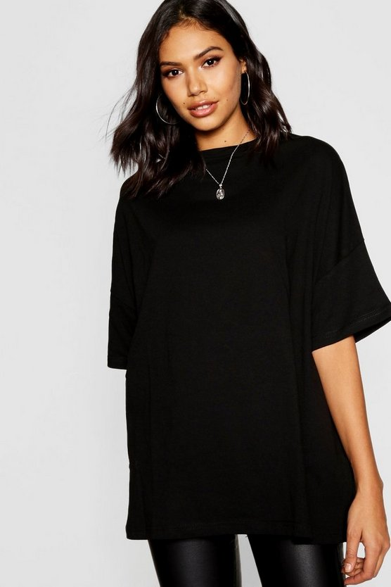 T-shirt boyfriend basic oversize, Nero, Femmina