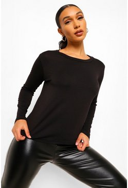 Black Basic Long Sleeve Crew Neck T-Shirt