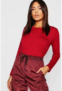 Womens Burgundy Basic Long Sleeve Crew Neck T-Shirt