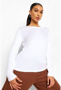 Basic Long Sleeve Crew Neck T-Shirt, White
