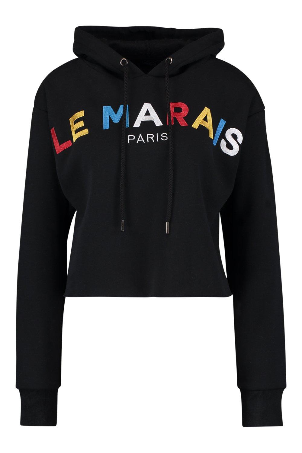 French Slogan black Embroidered Hoody Slogan French qn8zz7wR0a