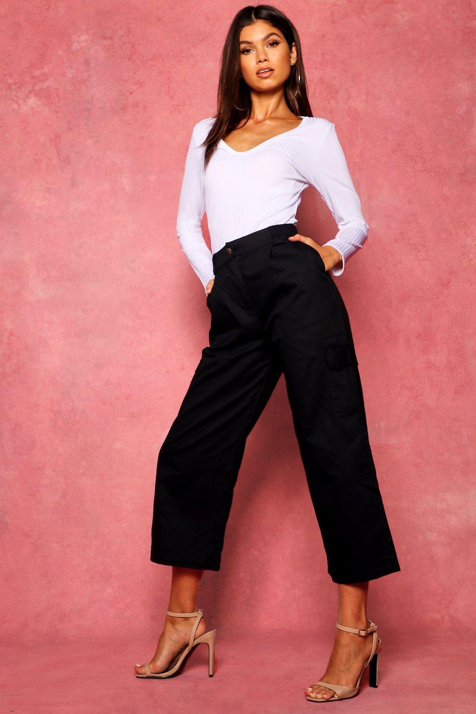 Pocket Trousers Cropped black Cargo Wide Leg wqnxvRzFt