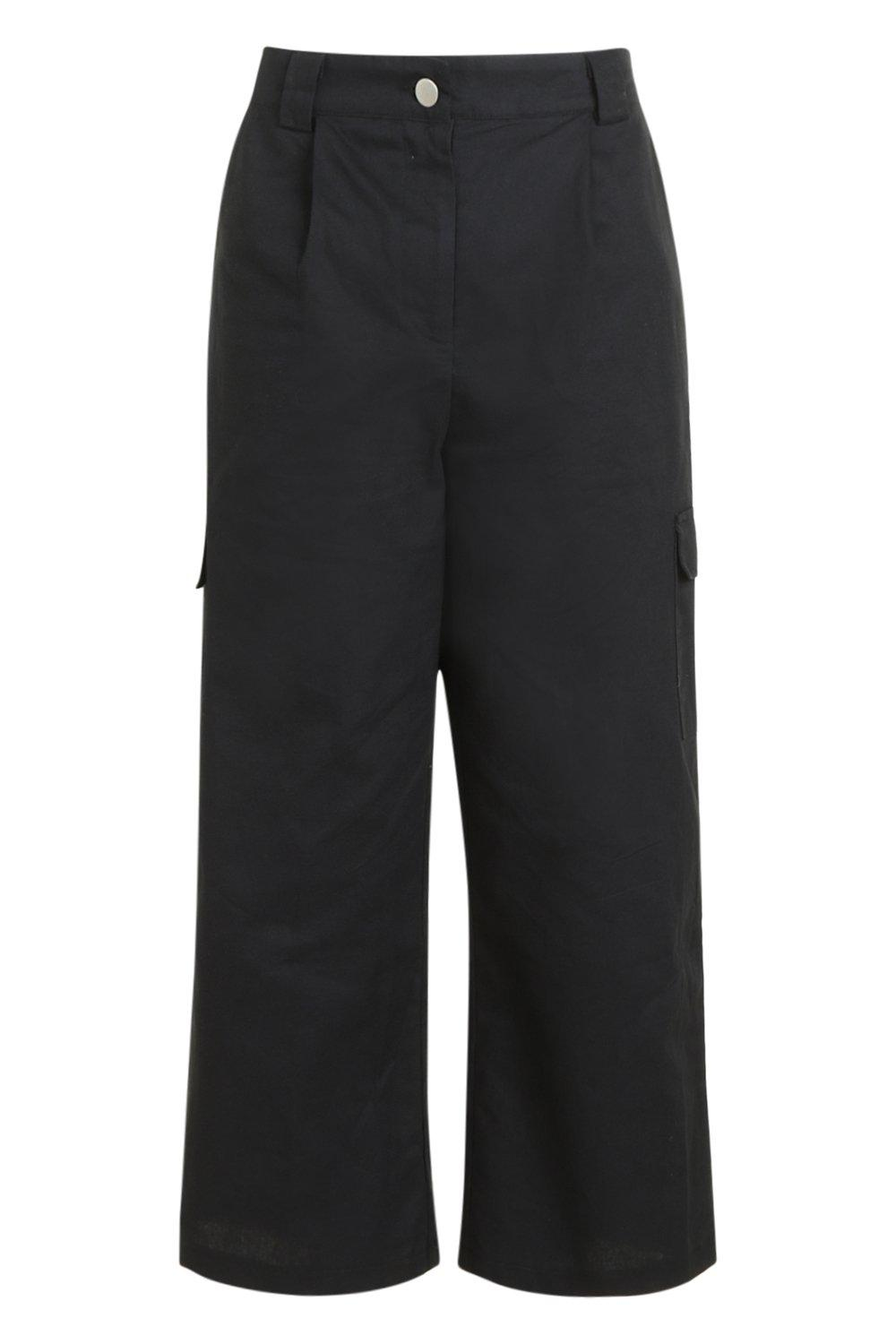 Pocket Trousers black Cropped Wide Cargo Leg wXIAxqYfn