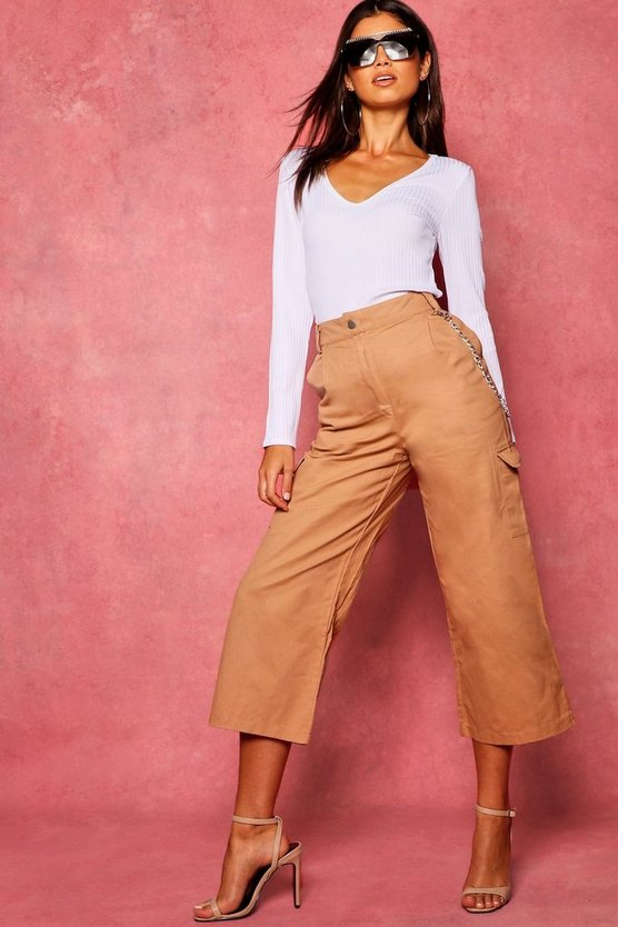 Womens Camel Cropped Wide Leg Cargo Pocket Trousers