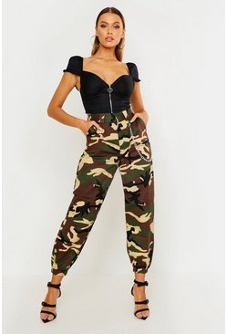 Womens Khaki Woven Camo Cargo Pocket Trousers