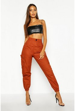 Womens Camel High Waist Woven Pocket Cargo Trousers
