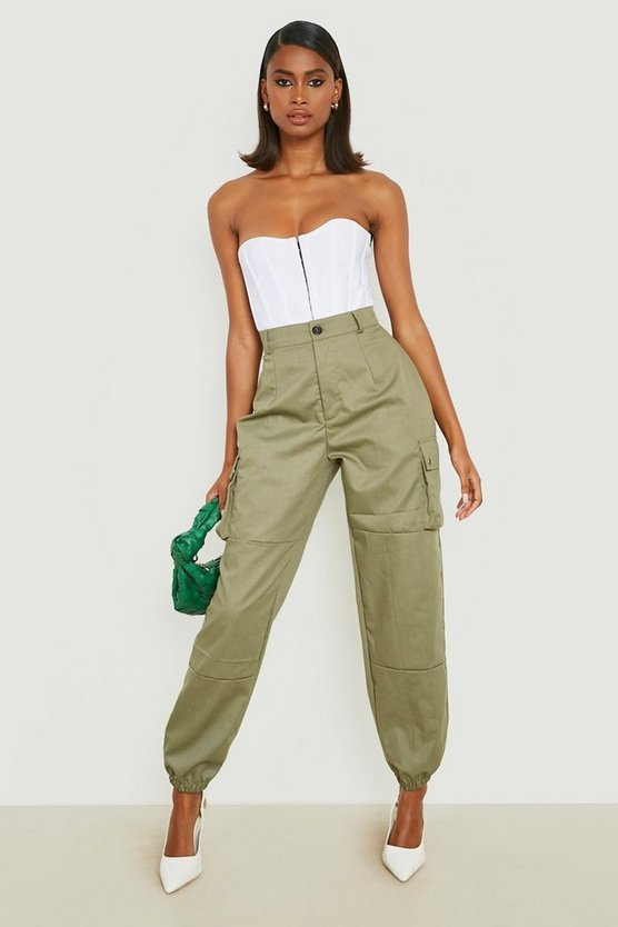 Womens Khaki High Waist Woven Pocket Cargo Pants