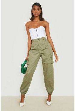 Womens Khaki High Waist Woven Pocket Cargo Trousers