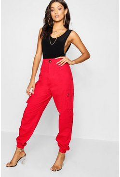 Womens Red High Waist Woven Pocket Cargo Trousers