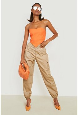 Sand High Waist Woven Pocket Cargo Trousers