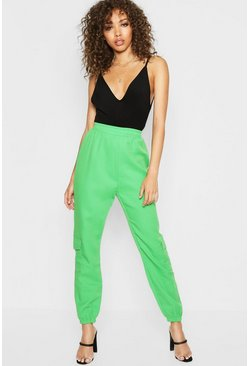 Womens Green Pocket Side Luxe Joggers