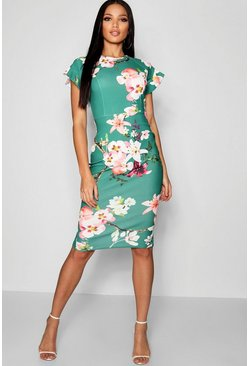 Womens Green Floral Ruffle Tailored Midi Dress