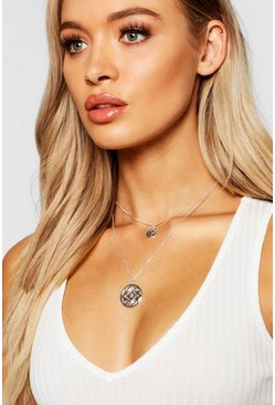 Double Chain Layered Necklace, Silver, Donna