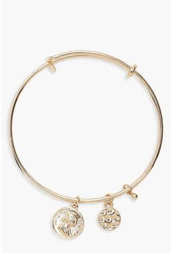 Womens Gold Coin Charm Bangle