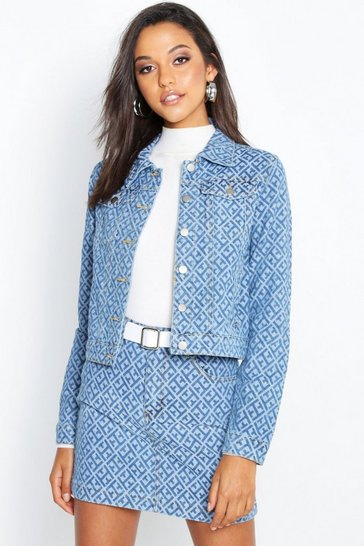 Womens Mid blue Geometric Denim Jacket