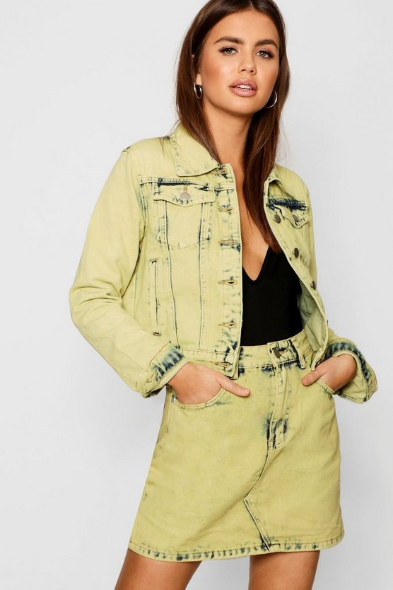 Womens Mustard Acid Wash Denim Jacket