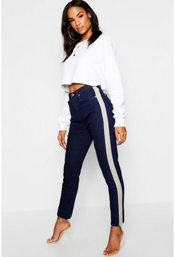 Jeans dritti in denim con righe a contrasto, Blu scuro, Femmina