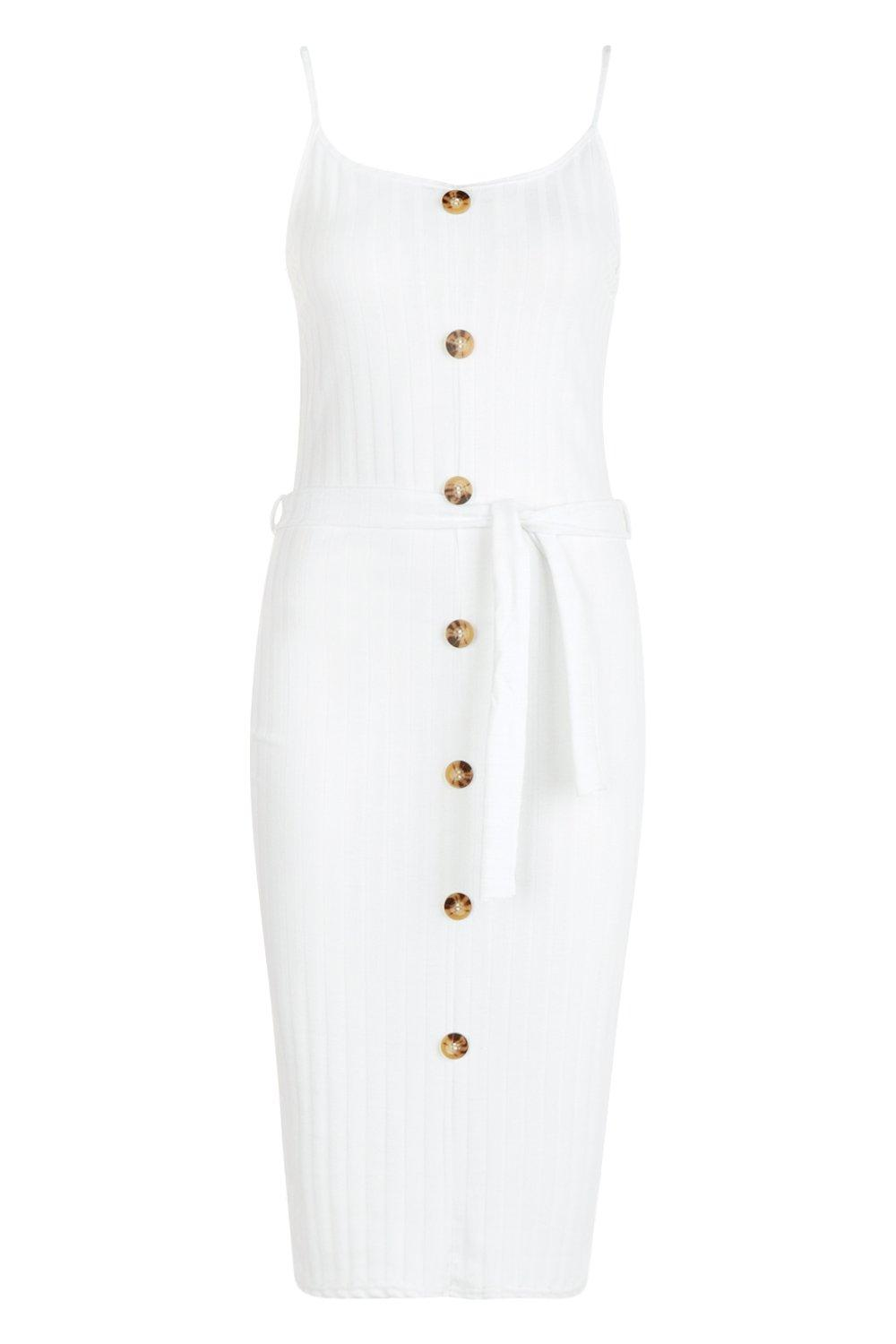 Knit Front Belted Midi cream Button Dress Rib dCwqOgd