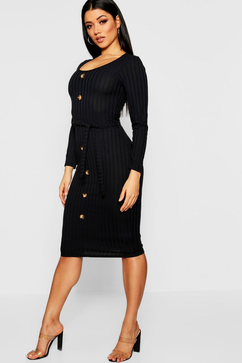 9a9dcb86 Belted Long Sleeve Button Up Rib Knit Dress | Boohoo
