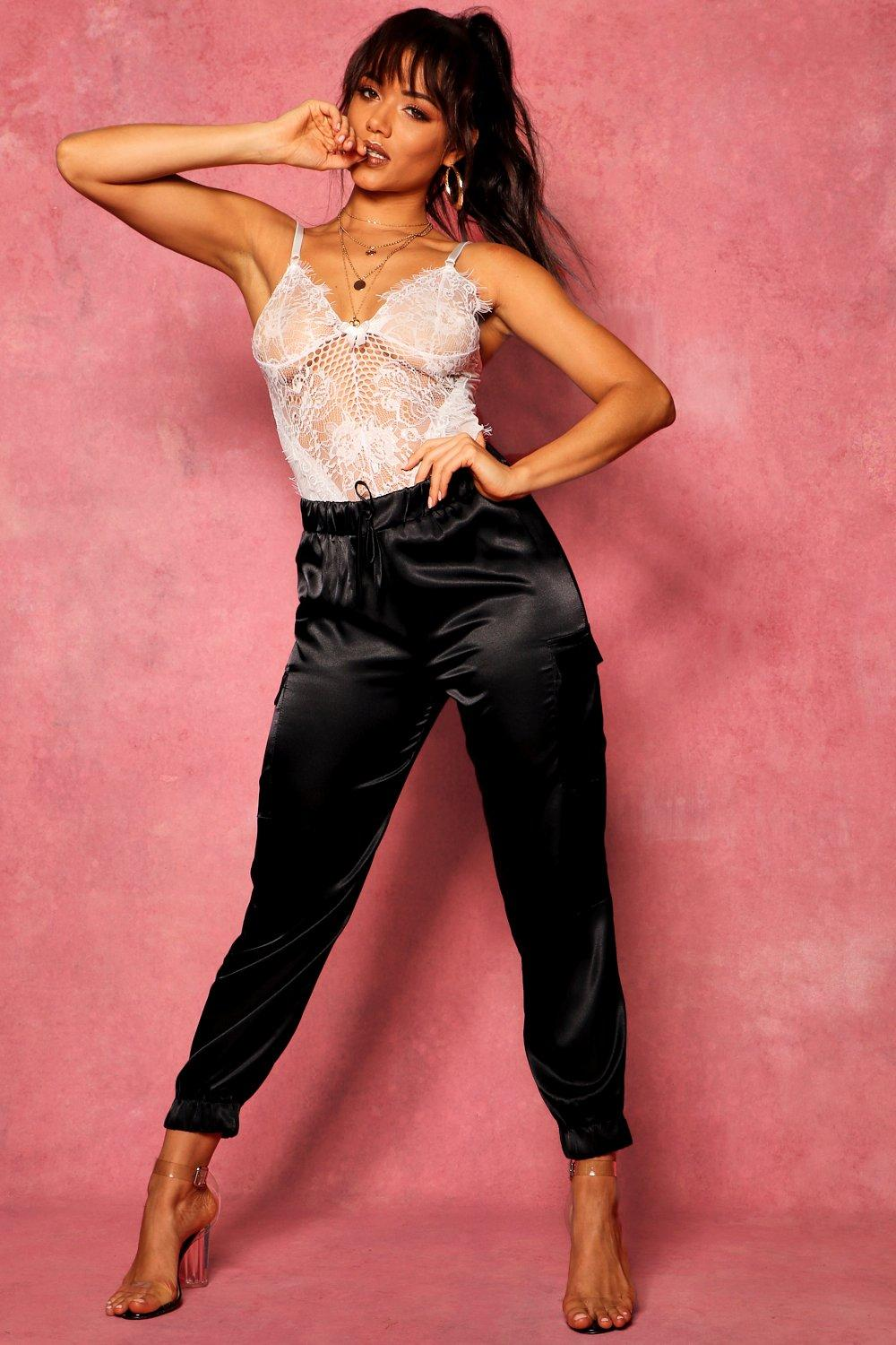 Satin Trousers black Trousers black Cargo Satin Cargo Satin Pocket Pocket 46qrgn4p