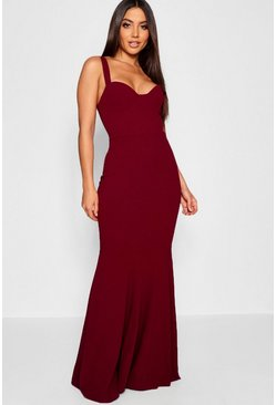 Berry Bustier Detail Fishtail Maxi Dress