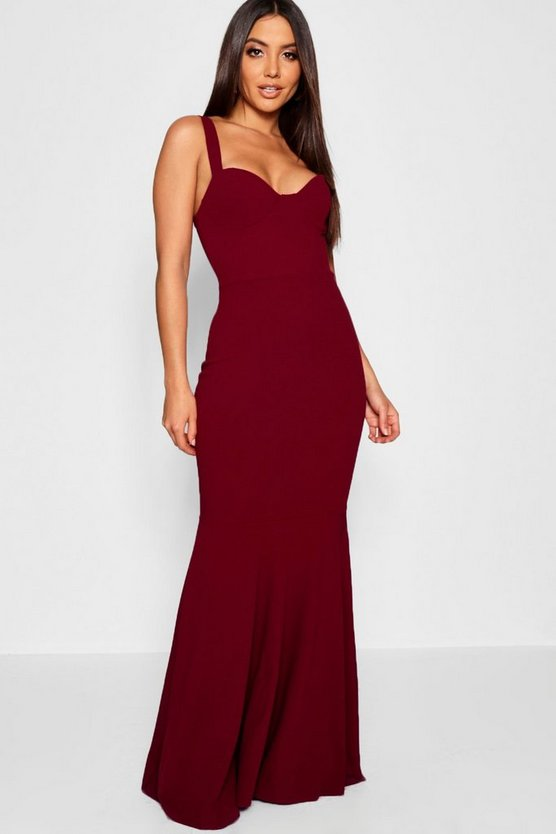 Womens Red Bustier Detail Fishtail Maxi Dress