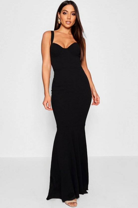 Womens Black Bustier Detail Fishtail Maxi Dress