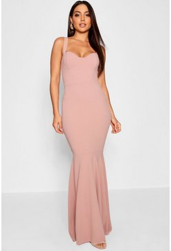 Womens Blush Bustier Detail Fishtail Maxi Dress