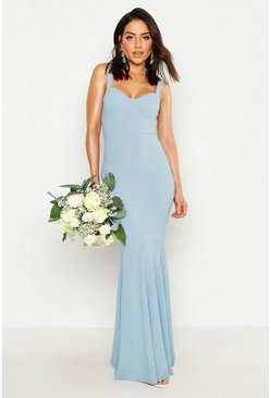 Cornflower blue Fitted Fishtail Maxi Bridesmaid Dress