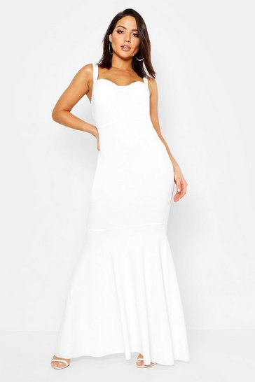 Womens Ivory Bustier Detail Fishtail Maxi Dress