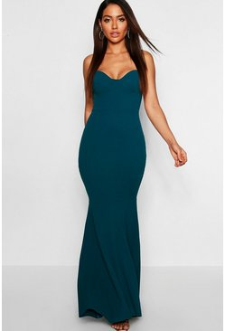 Teal Fitted Fishtail Maxi Bridesmaid Dress