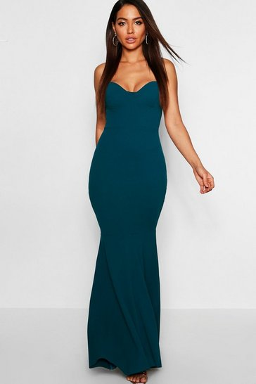Womens Teal Bustier Detail Fishtail Maxi Dress