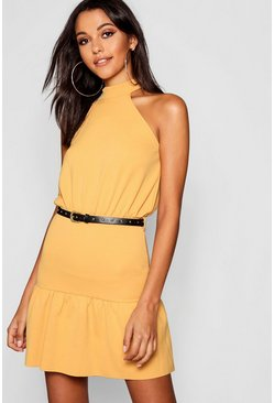 Womens Mustard High Neck Belted Ruffle Mini Dress