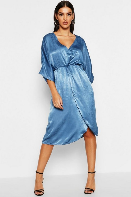 Kimono Sleeve Hammered Satin Midi Dress